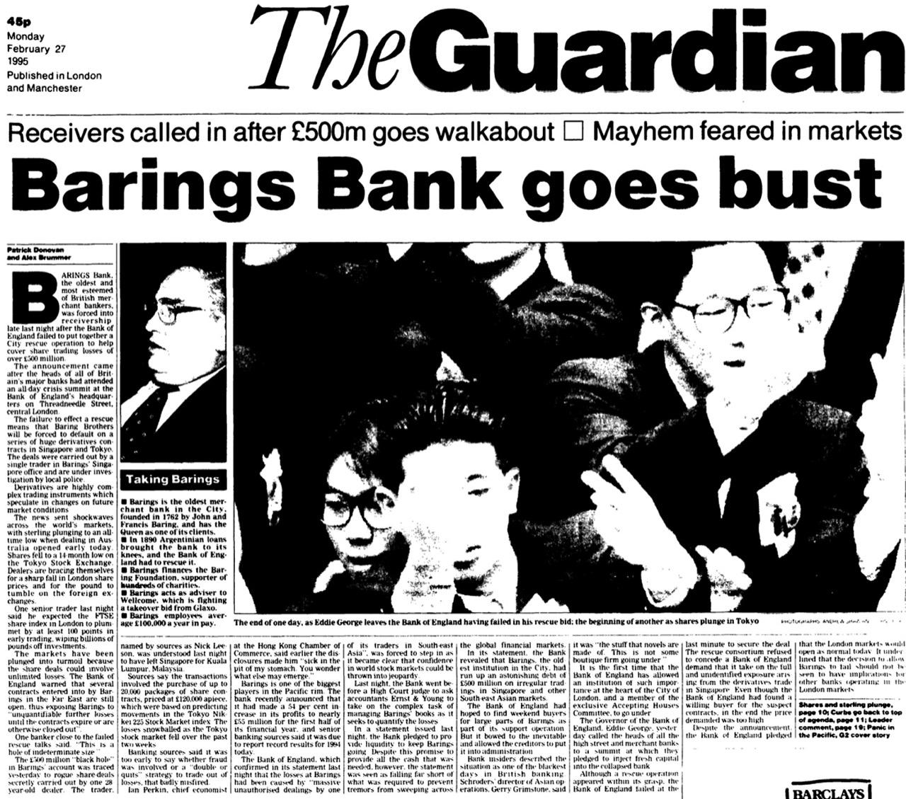 Przejęty za … 1 funta! Barings Bank